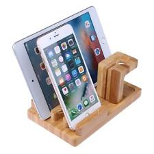 Bamboo Wood Charging Stand/Charging Holder for Apple iPhone  Watch + 4 USB Ports