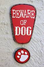 Beware of Dog Sign: Metal Shabby Chic Tin Vintage Rustic Wall Paw Art Home Decor