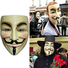 New V for Vendetta Mask Guy Fawkes Anonymous Mens Fancy Dress Costume Cosplay
