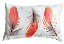 NEW Suede Feel Coral Boho 3 Feathers Decorative Cushion Pillow and Insert