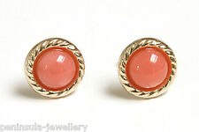 9ct Gold Coral stud Earrings Gift Boxed Made in UK