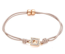 Taupe Brown Leather Cord Bracelet - Gold Crystal Square Charm