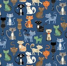 Crafty Cats Crowd Blue by Makower 100% Cotton Cat  Fabric  FQ