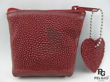PELGIO Real Genuine Stingray Skin Leather Zip Coins Wallet Pocket Purse Red New