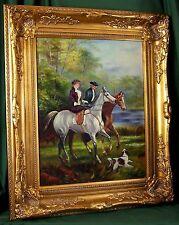 FineDecoArt GEMÄLDE PORTRAIT FRAU LADY REITERIN REITER PFERD HUND 70,5 x 60,5 cm