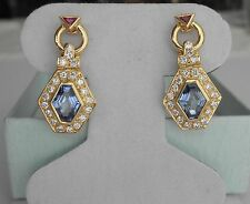 Exquisite Blue Sapphire Diamond & Ruby Dangle Earrings in 18K Gold