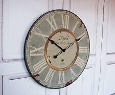 """Landhaus Wanduhr """"Paris"""" Uhr im french Shabby Chic Stil, XXL Durchmesser antique"""