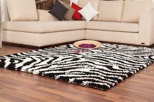 Hochflor Shaggy NEU Teppich Moderne Teppiche Zebra Schwarz Weiß 80x150