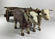 Antique Primitive Folk Art Carved Wood Oxen and Cart – Old Paint – AAFA Vermont