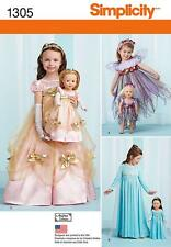"Simplicity SEWING PATTERN 1305 Childs & 18"" Doll  Fairy & Princess Costumes"