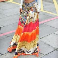 BOHO Hippy Women Summer Floral Long Maxi Skirt Beach Dress Casual Cover up