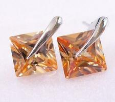 Men New White Gold Plated Champagne 8mm CZ Cubic Zirconia Xmas Studs Earrings
