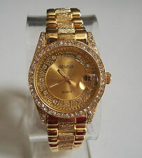 Mens Designer Style hip hop CZ Bling clubbing Gold finish with day & date watch