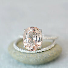 3.40 Ct. Oval Cut Morganite & Diamond Engagement Ring on 14K White Gold