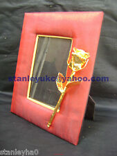 CHRISTMAS GIFT Body & Natural - Photo Frame Vintage Red Row Silk 24K Dipped Rose