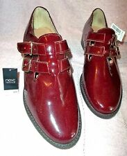 NEXT Maroon leather double buckled straps fastening low heel size 7Uk   ,