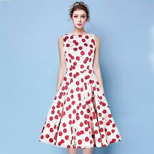 White L Vintage 50s Women's Rockabilly Ball Gown Swing Cherry  Peplum Prom Dress