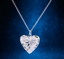 925 Sterling Silver Heart LOCKET Photo Charm Pendant Necklace Jewelry Gift