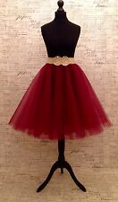 """Dark Red Circular Tulle Skirt 24"""" Length Rockabilly Sizes Party Mesh 50s"""