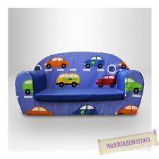Cars Traffic Kids Children's Comfy Double Foam Sofa Toddlers 2 Seater Seat Chair