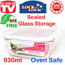 Lock & Lock Glass Food Storage Container 930ml Microwave Oven 400°C safe - Pyrex
