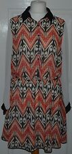 ❤❤ Papaya orange & cream chiffon long sleeve collared dress plus size 20 ❤❤