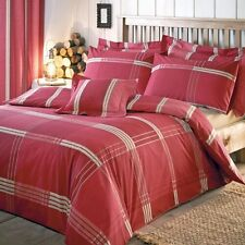 BNIP Rustic Red Cream Big Check Stripe DOUBLE Duvet Set NEW Matching Items