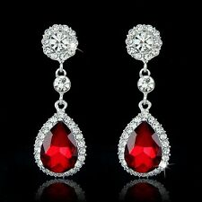 GORGEOUS 18K WHITE G/P RUBY RED & CLEAR AUSTRIAN CRYSTAL LONG DANGLE  EARRINGS