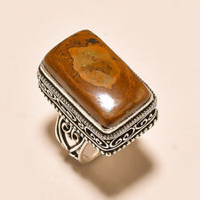 UNIQUE TIGER'S EYE GEMSTONE JEWELRY VINTAGE STYLE .925 SILVER RING US 6.75
