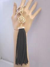 Schlüsselanhänger Taschen Anhänger Gold Schwarz Strass Fransen Blume Kunst Leder