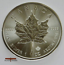 2016 Canadian Maple Leaf, unc: 1oz Troy ounce Fine Silver Bullion Coin