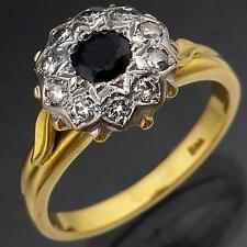 Vintage 1960's 18K GOLD SAPPHIRE & DIAMOND CLUSTER RING solid yellow estate Sz R