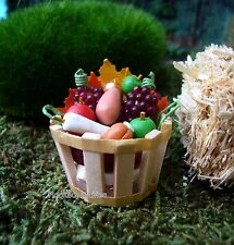 Miniature Fall Basket with Fruit & Vegetables Dollhouse Fairy Garden  2316-36