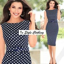 "ANITA"" BEAUTIFUL LADIES SIZE 16 BLUE WHITE POLKA DOT STRETCH PENCIL DAY DRESS"