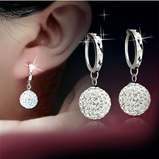 Women 18K White Gold Filled Crystal Rhinestone Hoop Earrings Wedding Jewelry New
