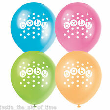 """Baby Shower UNISEX Pastel Party Decorations Girls Boys 12"""" Latex Balloons x8"""