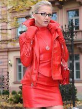 Lederjacke Leder Jacke Rot Biker-Style Maßanfertigung