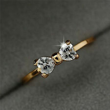 Fashion Women Xmas Gift Crystal Rhinestone 18K Gold Plated Bow Ring Jewelry Gift