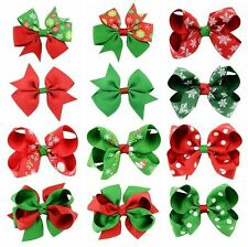 12x Christmas Hair Bow Clip Alligator Clips Girls Ribbon Kids Sides Accessories