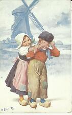 Künstler AK - Holländische Kinder / Tracht Windmühle - gelaufen um 1911