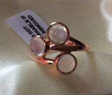 2.25, Natural Rose Quartz Ring, 3 Stone, Rose Gold Over Sterling Silver, Size R