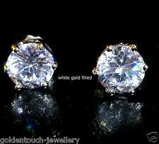 Men's round 8mm simulated diamond 18k white gold filled stud earrings /UK