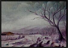 Moderne Kunst,signiert,dat. 85,akadem. Arbeit, Winterlandschaft,Enten am Fluss x