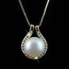 18k Gold 925 Sterling Silver Swarovski Fresh Water Pearl pendant necklace ITALY