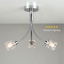 Modern Chrome / Clear Glass Ice Cube 3 Way Flush Ceiling Light Fitting Lighting
