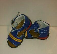 BABY Jungen Kinder Schuhe SANDALEN MADE IN ITALY Gr. 19 Blau Streifen LEDER