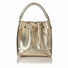 BNWOT LK Bennett Jennie Gold Leather Bucket Tote Drawstring Bag RRP £255