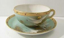 Nippon Flying Geese Jeweled Cup and Saucer  Vintage