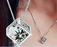 925 Sterling silver Necklace AAA Crystals Pendant Charm Women's Fashion jewelry