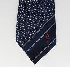 M&S vintage 1970s tie FR logo initials emblem Wide stripes St Michael navy blue